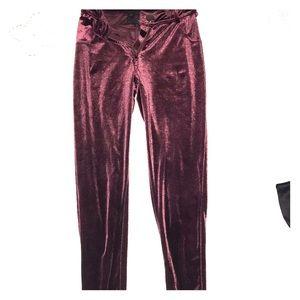 Velvet zip up leggings